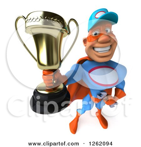 Clipart of a 3d Super Hero Mechanic Holding up a Trophy - Royalty Free Illustration by Julos