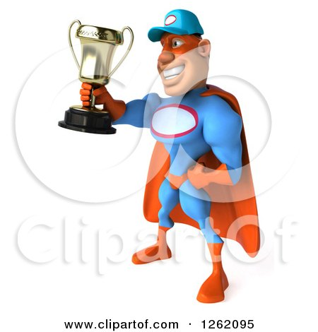 Clipart of a 3d Super Hero Mechanic Holding a Trophy - Royalty Free Illustration by Julos