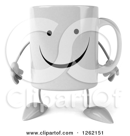 Clipart of a 3d Happy Coffee Mug - Royalty Free Illustration by Julos
