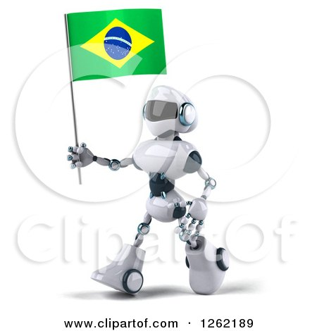 Clipart of a 3d White and Blue Robot Walking with a Brazilian Flag - Royalty Free Illustration by Julos