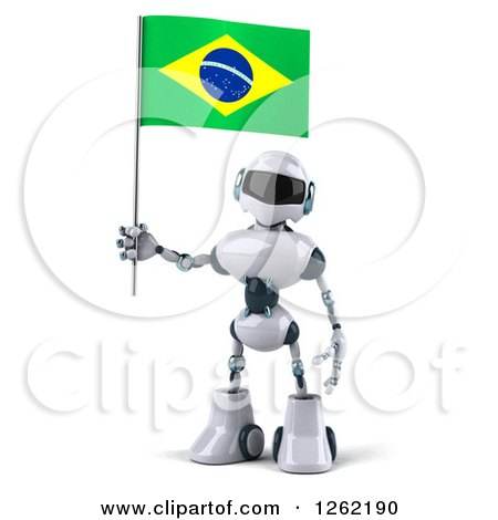 Clipart of a 3d White and Blue Robot Holding a Brazilian Flag - Royalty Free Illustration by Julos