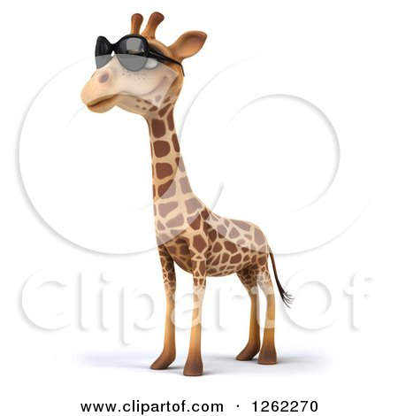 Clipart of a 3d Giraffe Wearing Sunglasses - Royalty Free Illustration by Julos