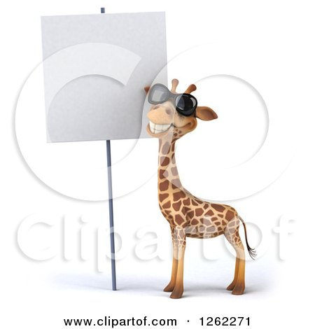 Clipart of a 3d Giraffe Wearing Sunglasses by a Blank Sign - Royalty Free Illustration by Julos
