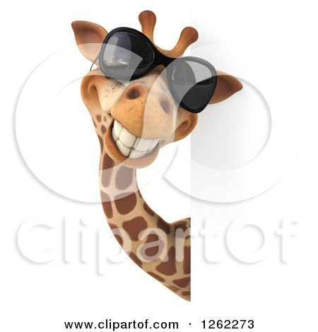 Clipart of a 3d Giraffe Wearing Sunglasses and Smiling Around a Sign - Royalty Free Illustration by Julos