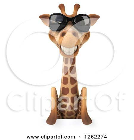 Clipart of a 3d Giraffe Wearing Sunglasses over a Sign - Royalty Free Illustration by Julos