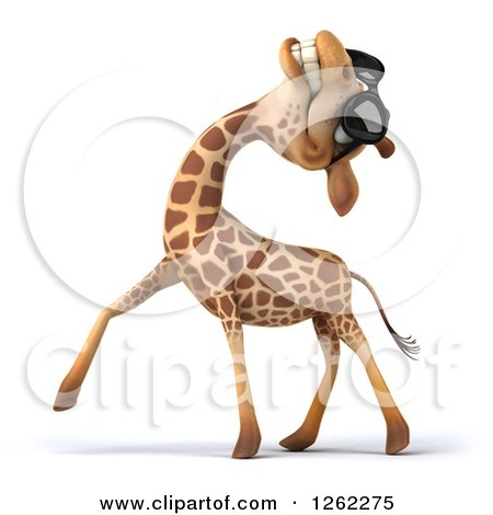 Clipart of a 3d Giraffe Wearing Sunglasses and Laughing - Royalty Free Illustration by Julos