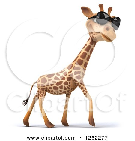 Clipart of a 3d Giraffe Wearing Sunglasses and Walking - Royalty Free Illustration by Julos