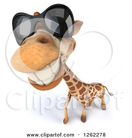 Clipart of a 3d Closeup of a Giraffe Wearing Sunglasses - Royalty Free Illustration by Julos