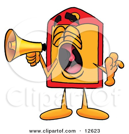 Clipart Picture of a Price Tag Mascot Cartoon Character Screaming Into a Megaphone by Toons4Biz