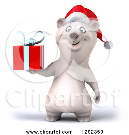 Clipart of a 3d Christmas Polar Bear Holding a Gift - Royalty Free Illustration by Julos