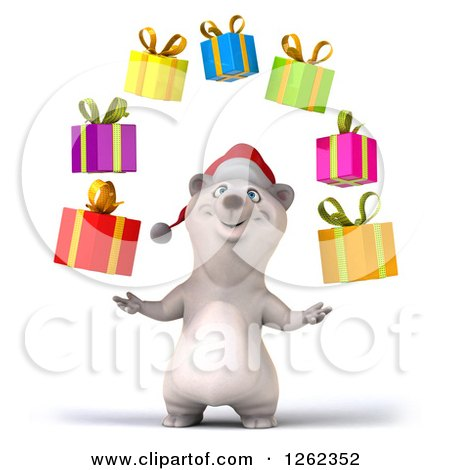 Clipart of a 3d Christmas Polar Bear Juggling Gifts - Royalty Free Illustration by Julos