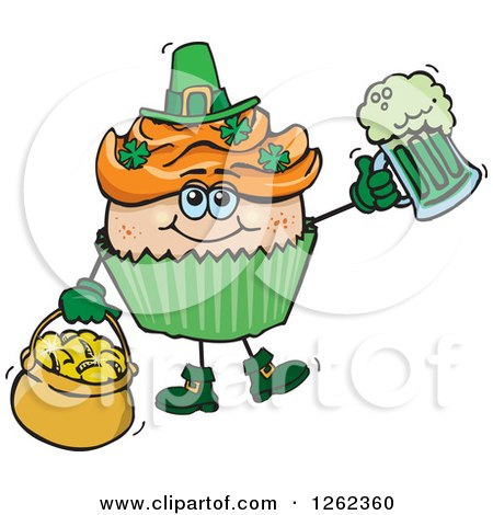 Clipart of a Leprechaun St Patricks Day Holiday Cupcake Holding a Beer and Gold - Royalty Free Vector Illustration by Dennis Holmes Designs