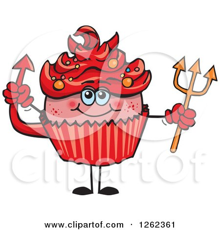 Clipart of a Devil Halloween Holiday Cupcake Holding a Pitchfork - Royalty Free Vector Illustration by Dennis Holmes Designs