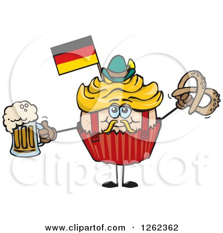 Clipart of a German Oktoberfest Holiday Cupcake Holding a Beer and Pretzel - Royalty Free Vector Illustration by Dennis Holmes Designs