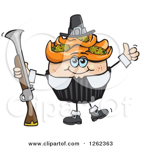 Clipart of a Pilgrim Thanksgiving Holiday Cupcake Holding a Musket - Royalty Free Vector Illustration by Dennis Holmes Designs