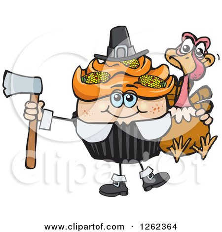 Clipart of a Pilgrim Thanksgiving Holiday Cupcake Holding a Turkey and Axe - Royalty Free Vector Illustration by Dennis Holmes Designs