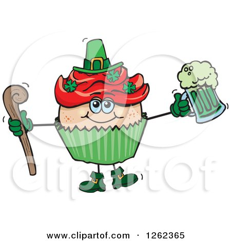 Clipart of a Leprechaun St Patricks Day Holiday Cupcake Holding a Beer and Cane - Royalty Free Vector Illustration by Dennis Holmes Designs