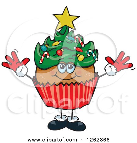 Clipart of a Christmas Tree Holiday Cupcake - Royalty Free Vector Illustration by Dennis Holmes Designs