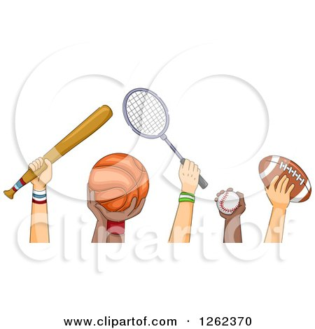 Clipart of Hands of Athletes Holding Sports Equipment - Royalty Free Vector Illustration by BNP Design Studio