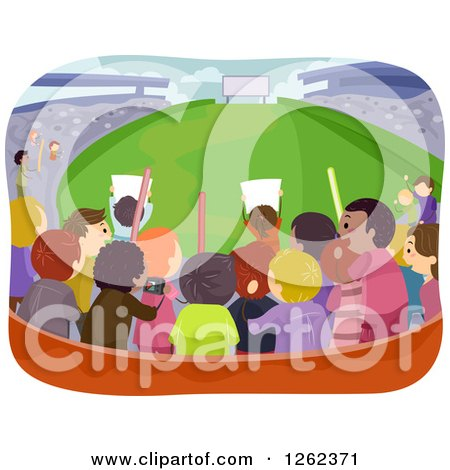 Clipart of a Rear View of Fans in the Bleachers at a Stadium - Royalty Free Vector Illustration by BNP Design Studio