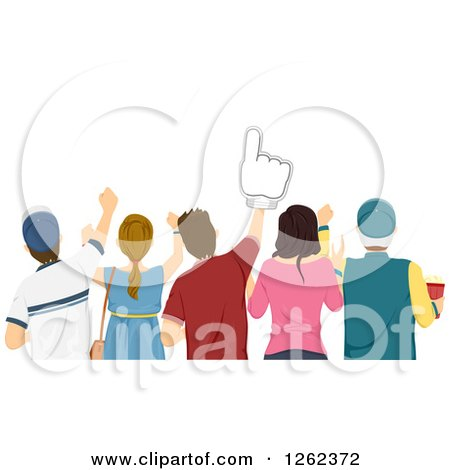 Clipart of a Rear View of a Group of Sports Fans - Royalty Free Vector Illustration by BNP Design Studio
