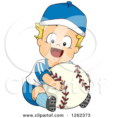 Clipart of a Blond White Toddler Boy Hugging a Giant Baseball - Royalty Free Vector Illustration by BNP Design Studio