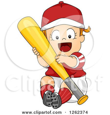 Clipart of a Red Haired White Toddler Girl Hugging a Baseball Bat - Royalty Free Vector Illustration by BNP Design Studio
