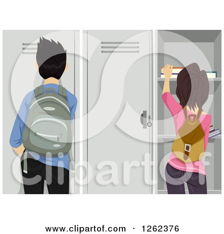 Rear View of a High School Guy and Girl at Their Lockers Posters, Art Prints