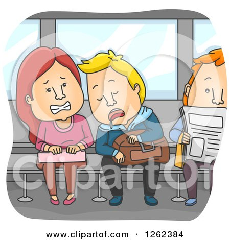 Clipart Of A Disgusted Woman Being Drooled On By Another Train Passenger Royalty Free Vector Illustration