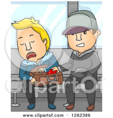 Clipart of a Thief Stealing from a Man Sleeping on a Subway Train - Royalty Free Vector Illustration by BNP Design Studio
