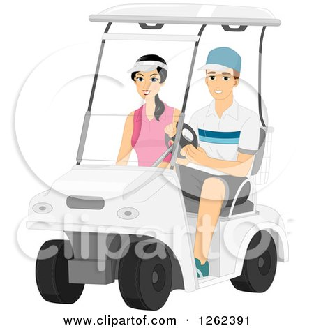 Clipart of a Couple Riding in a Golf Cart - Royalty Free Vector Illustration by BNP Design Studio