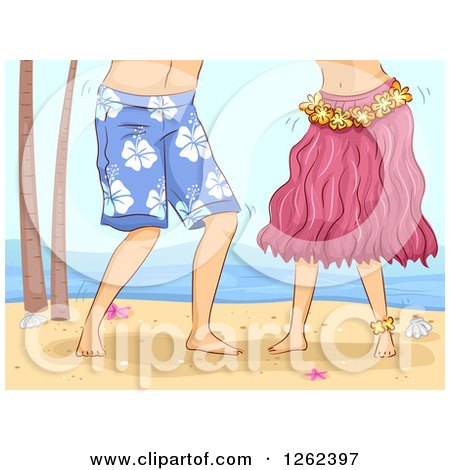 Clipart of a Couple Hula Dancing on a Beach - Royalty Free Vector Illustration by BNP Design Studio