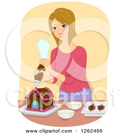 Clipart of a Blond Caucasian Woman Decorating a Gingerbread House - Royalty Free Vector Illustration by BNP Design Studio