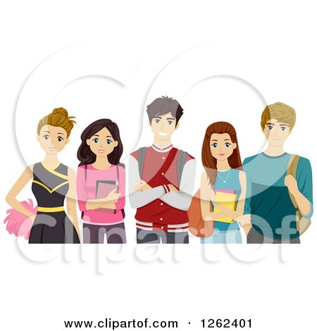 Clipart of Cheerleader and High School Students - Royalty Free Vector Illustration by BNP Design Studio