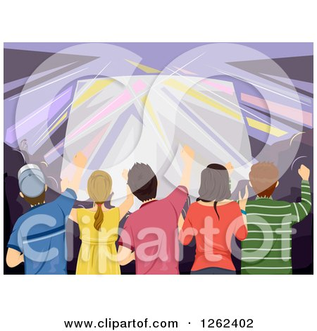 Clipart of a Crowd at a Concert - Royalty Free Vector Illustration by BNP Design Studio