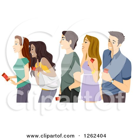 Clipart of a Queue of Excited Teenagers Holding Tickets - Royalty Free Vector Illustration by BNP Design Studio