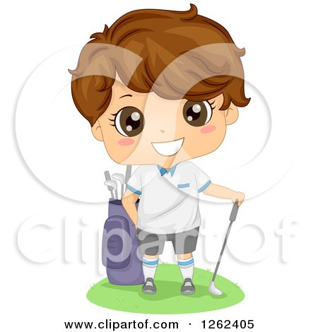 Clipart of a Cute Brunette White Boy Golfer - Royalty Free Vector Illustration by BNP Design Studio