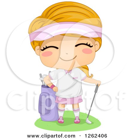Clipart Of A Happy Caucasian Girl With Golfing Gear Royalty Free Vector Illustration