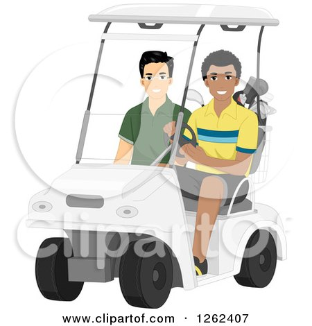 Clipart of Men Riding in a Golf Cart - Royalty Free Vector Illustration by BNP Design Studio