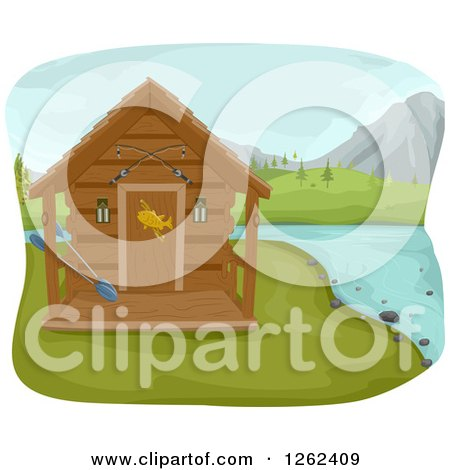 Clipart of a Fishing Cabin on a Lake - Royalty Free Vector Illustration by BNP Design Studio