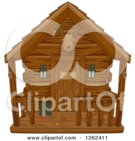 Clipart of a Hunting Cabin with Autumn Leaves on the Porch - Royalty Free Vector Illustration by BNP Design Studio