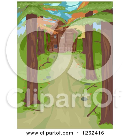 Clipart of a Tree Lined Driveway Leading to a Log Cabin in the Woods - Royalty Free Vector Illustration by BNP Design Studio