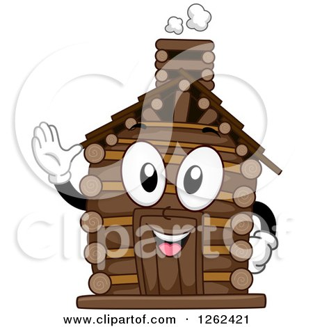 Clipart of a Log Cabin Character Waving - Royalty Free Vector Illustration by BNP Design Studio