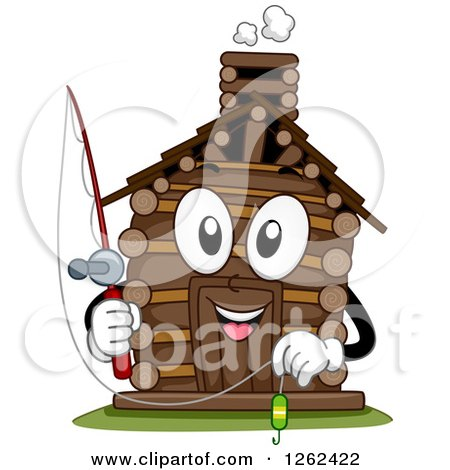 Clipart of a Log Cabin Character Holding a Fishing Pole - Royalty Free Vector Illustration by BNP Design Studio