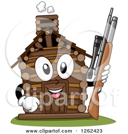 Clipart of a Log Cabin Character Holding a Hunting Rifle - Royalty Free Vector Illustration by BNP Design Studio