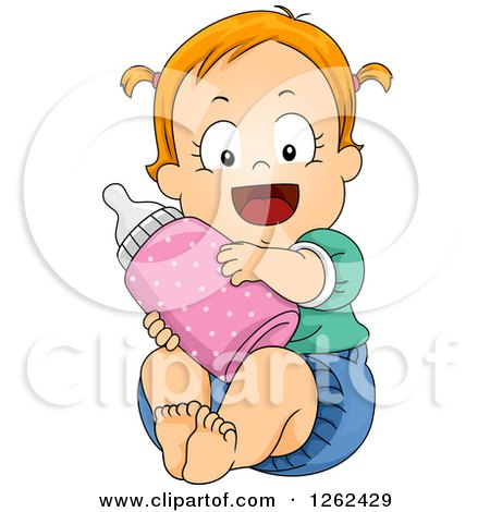 Clipart of a Red Haired White Toddler Girl Hugging a Giant Bottle - Royalty Free Vector Illustration by BNP Design Studio