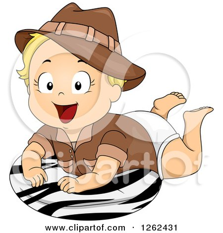 Clipart of a Blond White Toddler Safari Girl on a Zebra Print Pillow - Royalty Free Vector Illustration by BNP Design Studio