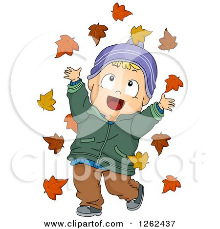 Clipart of a Blond White Toddler Boy Playing in Autumn Leaves - Royalty Free Vector Illustration by BNP Design Studio