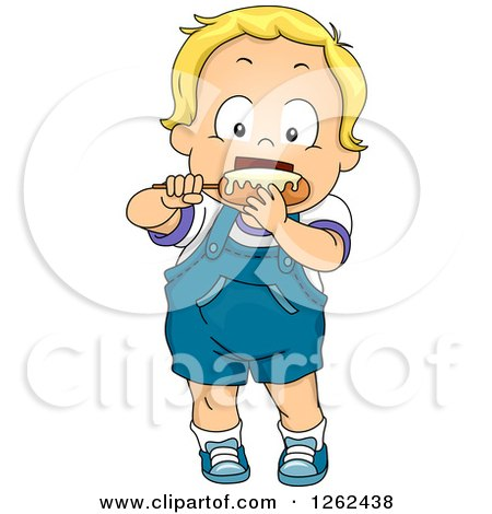 Clipart of a Blond White Toddler Boy Eating a Corn Dog - Royalty Free Vector Illustration by BNP Design Studio