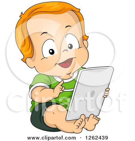 Clipart of a Red Haired White Toddler Boy Using a Tablet Computer - Royalty Free Vector Illustration by BNP Design Studio